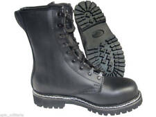 German Army Paratrooper BLACK LEATHER BOOTS - All Sizes - Military Steel Toe