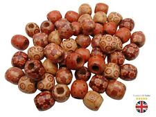 Mixed Painted Wooden Drum Beads 17mm Beads Jewellery Ethnic Craft Tribal ML
