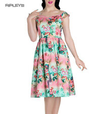 Hell Bunny Pinup 50s Dress PEACOCK Flowers Pink/Green All Sizes