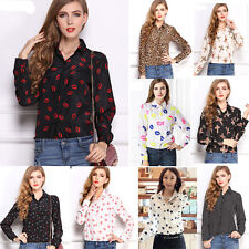 New lady's womens shirt Chiffon T-Shirt Floral Print Long Sleeve Casual Blouse