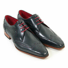 Jeffery West Men's J900 Leather Wing Tip Lace Up Brogue Navy / Red