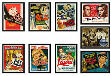 Framed Film Noir Movie Poster A4 Size Mounted In Black Frame 40+ To Choose From