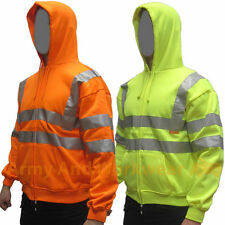 Hi Viz Hoody Mens Reflective Work Safety Hooded Sweatshirt Sweat Hoodie Full Zip
