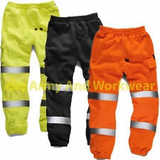 Hi Viz Mens Combat Work Wear Jogging Bottoms Thick Brush Trouser Safety Joggers