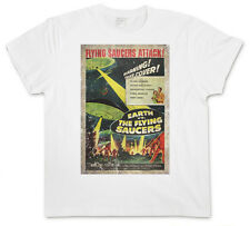 EARTH VS. Flying SAUCERS II T-SHIRT - Retro UFO Flying Saucer Sci-Fi Movie