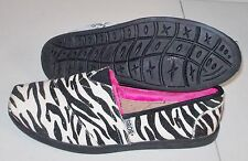 NEW BOBS SKECHERS ZEBRA Print Sparkle Slip on Shoes WOMENS bling faux fur NWT