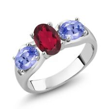 1.70 Ct Oval Red Mystic Topaz Blue Tanzanite 18K White Gold Ring