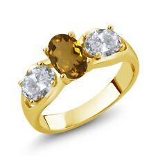 1.70 Ct Oval Whiskey Quartz White Topaz 14K Yellow Gold Ring