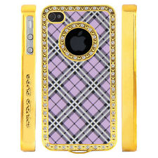 Apple iPhone 4 4S Gem Crystal Rhinestone Purple Silver Black Plaid case