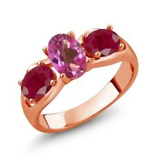 2.00 Ct Oval Pink Mystic Topaz Red Ruby 18K Rose Gold Plated Silver Ring