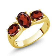 1.90 Ct Oval Red Garnet 18K Yellow Gold Plated Silver Ring