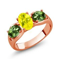 1.80 Ct Oval Canary Mystic Topaz Green Tourmaline 18K Rose Gold Ring