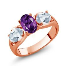 1.75 Ct Oval Purple Amethyst Sky Blue Topaz 18K Rose Gold Plated Silver Ring