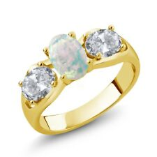 1.63 Ct Oval White Simulated Opal White Topaz 18K Yellow Gold Plated Silver Ring