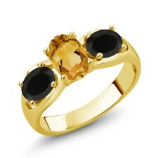 1.38 Ct Oval Yellow Citrine Black Onyx 18K Yellow Gold Plated Silver Ring