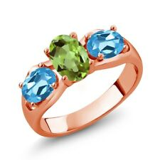 1.80 Ct Oval Green Peridot Swiss Blue Topaz 18K Rose Gold Ring