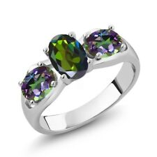 1.80 Ct Forest Green Mystic Topaz and Green Mystic Topaz 18K White Gold Ring