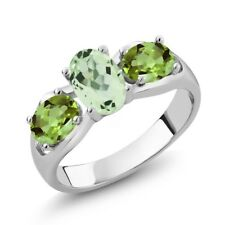 1.75 Ct Oval Green Amethyst Green Peridot 925 Sterling Silver Ring