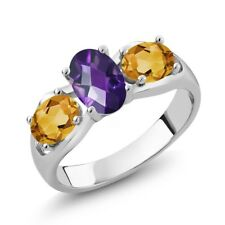 1.55 Ct Oval Checkerboard Purple Amethyst Yellow Citrine 925 Silver Ring