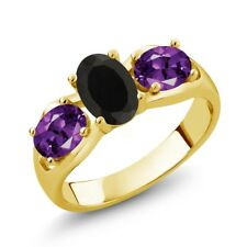 1.50 Ct Oval Black Onyx Purple Amethyst 18K Yellow Gold Plated Silver Ring