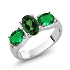 1.60 Ct Emerald Envy Mystic Topaz Green Simulated Emerald 14K White Gold Ring