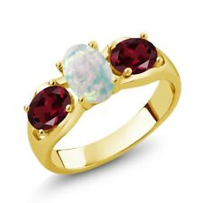 1.63 Ct Oval White Simulated Opal Red Rhodolite Garnet 14K Yellow Gold Ring