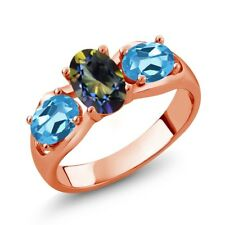 1.80 Ct Oval Blue Mystic Topaz Swiss Blue Topaz 18K Rose Gold Plated Silver Ring