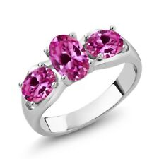 1.90 Ct Oval Pink Created Sapphire 925 Sterling Silver Ring