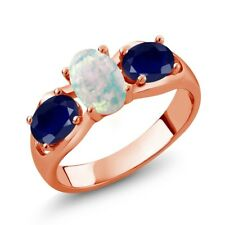 1.73 Ct Oval White Simulated Opal Blue Sapphire 18K Rose Gold Plated Silver Ring