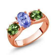 1.75 Ct Oval Blue Tanzanite Green Tourmaline 18K Rose Gold Plated Silver Ring