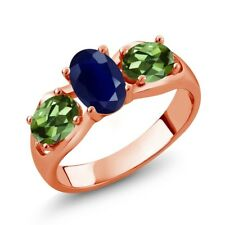 2.02 Ct Oval Blue Sapphire Green Tourmaline 18K Rose Gold Plated Silver Ring