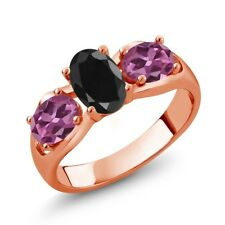2.07 Ct Oval Black Sapphire Pink Tourmaline 18K Rose Gold Plated Silver Ring
