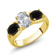 1.73 Ct Oval White Topaz Black Onyx 18K Yellow Gold Ring