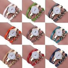Women Fashion Bracelet Leather Quartz Stainless Steel Analog Dial Wrist Watch