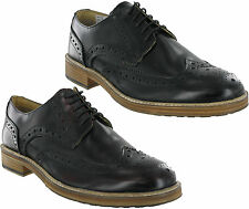 Roamers 5 Eyelet Wing Capped Brogue Leather Gibson Lace Up Mens Shoes 6-12