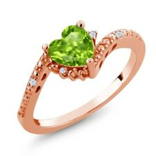 0.87 Ct Heart Shape Green Peridot White Topaz 18K Rose Gold Plated Silver Ring