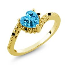 0.98 Ct Heart Shape Swiss Blue Topaz Black Diamond 18K Yellow Gold Ring