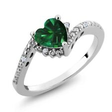 0.72 Ct Heart Shape Green Simulated Emerald White Topaz 14K White Gold Ring