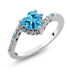 0.97 Ct Heart Shape Swiss Blue Topaz and Simulated Topaz 14K White Gold Ring