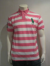 POLO RALPH LAUREN MEN POLO SHIRT [SIZE M / L / XL] BIG PONY STRIPES PINK NIP