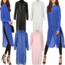 NEW Women Long Sleeve Sheer Chiffon Plus Size Long Shirt Dress Top Blouse Kaftan