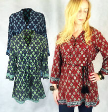 LADIES TUNIC SHIRT VERY MINI DRESS PAISLEY PRINT RED NAVY GREEN BOHO 12 14 16