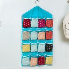 Washable 16 Grids Pouch Clothes Sock Underwear Bra Hanging Storage Bag Organizer