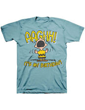 NEW NWT Charlie Brown Screaming Aaghh It's My Birthday Blue T-Shirt -