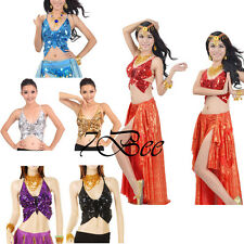 Sexy Women Adjustable Belly Dance Costume Butterfly Sequin Top Bra 6 Colors