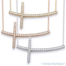 Curved Sideways CZ Crystal Cross Pendant & Chain Necklace in 925 Sterling Silver