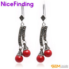 8mm Round Beads Tibetan Silver Drop Dangle Hook Earrings For Girl Christmas Gift