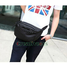 Mens Rivets Cross Body Shoulder Hip Sling Chest Fanny Pack PU Leather Waist Bag