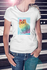 New Funny Novelty Joke WOMENS FITTED Unicorn RAINBOW CAT Kitten T-SHIRT Gift Tee