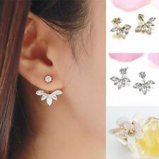 New 1 Pair Women Lady Elegant Crystal Rhinestone Ear Stud Fairy Flower Earrings